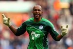 WIGAN, ENGLAND - MARCH 19:  Wigan goal keeper Ali Al Habsi celebrates the winning goal during the Barclays Premier League match between Wigan Athletic and Birmingham City at the DW Stadium on March 19, 2011 in Wigan, England.  (Photo by Richard Heathcote/Getty Images)